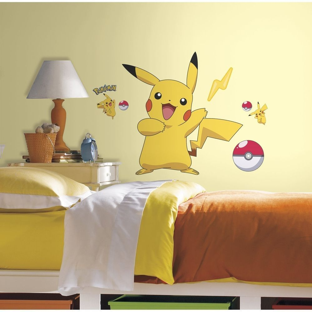 Pokemon Wall Sticker Pikachu Decals Peel and Stick Bedroom ...