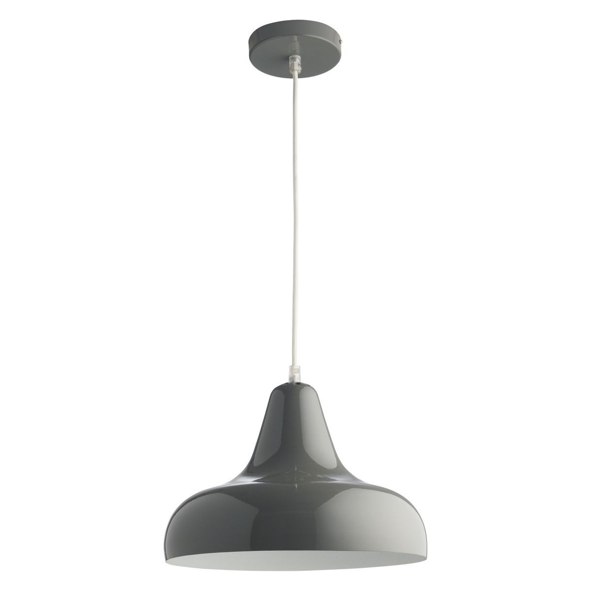 AERIAL Grey Metal Ceiling Light With White Interior