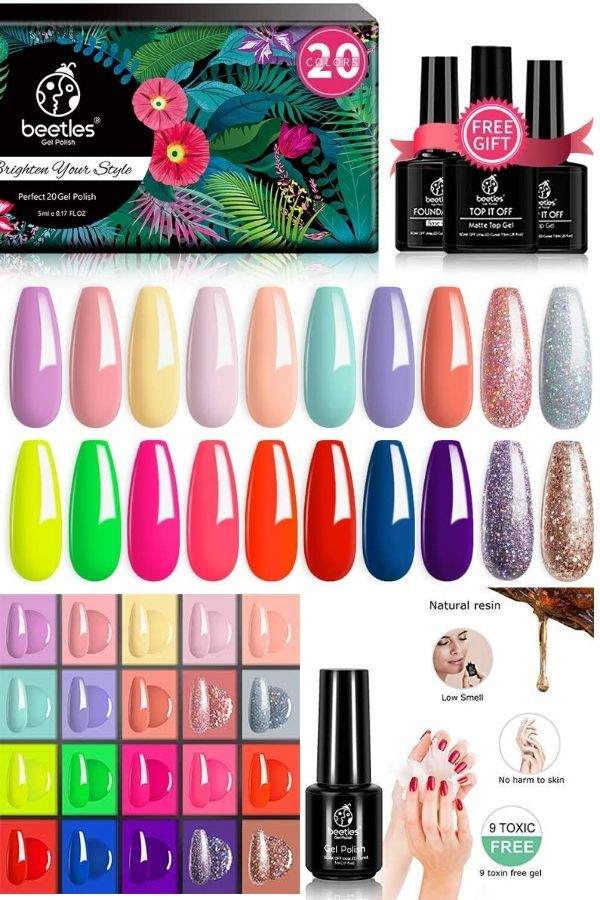 WHAT YOU GET: 20 x Mini Gel Polish Colors (5ml each bottle) + 3 x No Wipe Base and Glossy & Matte Top Coat ( 7.5ml each bottle). Beetles Pastel & Neon Gel Nail Polish Set 20 colors beautiful shades of popular and trendy colors suitable for spring and summer seasons and daily routine life!////#Beetles #20 #Pcs #Gel #Nail #Polish #Kit, #Spring #into #Summer #Collection #Soak #Off #UV #LED #Gels #Polishes #Pastel #Neon #Starter #Kits #with #Glossy & #Matte #Top #Coat #and #Base #Coats