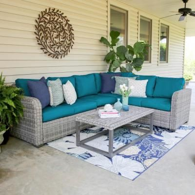 Hampton Bay Riley 3-Piece Metal Outdoor Sectional Set with ... on Riley 3 Piece Sectional Charleston id=17072