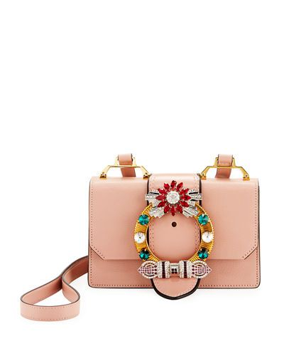 5048587e4d V3D5D Miu Miu Lady Jeweled Madras Leather Shoulder Bag