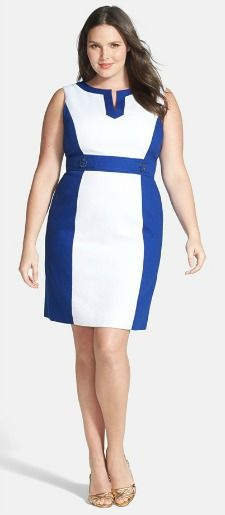 def9247e white and blue color blocked dress plus size I like this. Would need to  wear a sweater with it for work