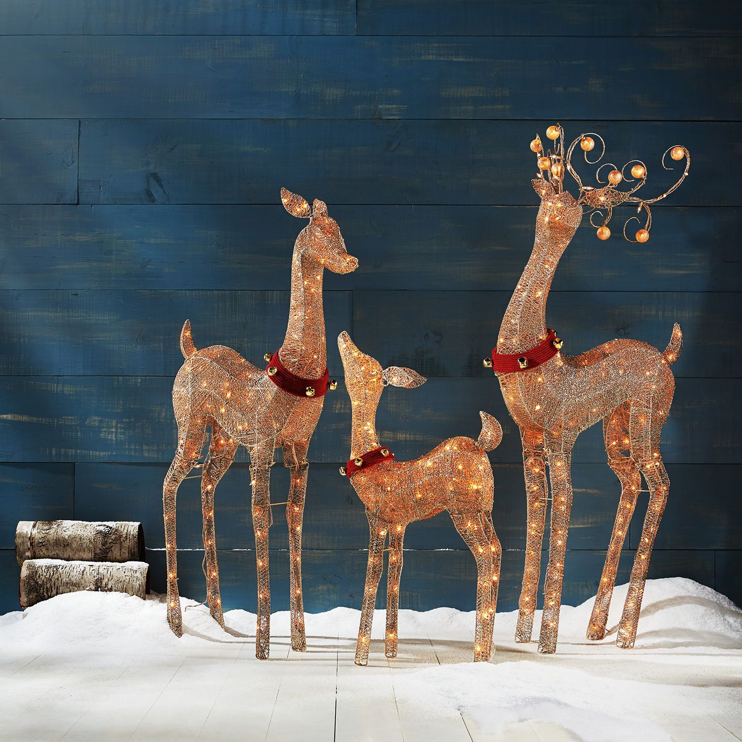 set of 3 decorative holiday deer 36 fawn 52 doe 60 buck 14998 at sams club
