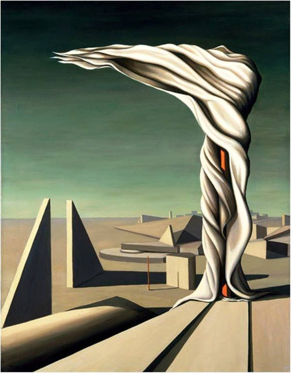 Kay Sage - I Saw Three Cities, 1944. Oil on canvas. 36 1/4 x 27 15/16 in. (92.0 x 71.0 cm). Princeton University Art Museum, NJ, USA