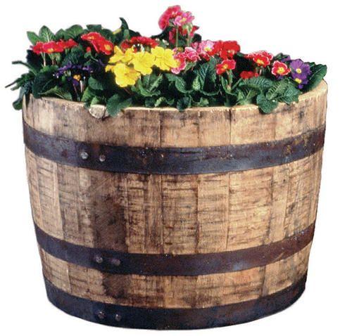 Half Oak Barrel Planter At Menards Wood Barrel Planters Whiskey Barrel Planter Barrel Planter