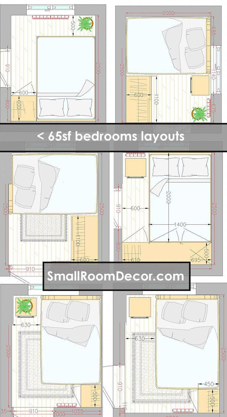 8x8 Bedroom Design: 16 Standart And 2 Extreme Small Bedroom Layout Ideas (With