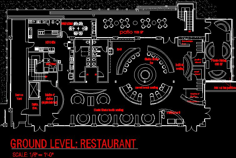 Restaurant Layout Autocad Download : San diego restaurant concept floor plan c o m e r i