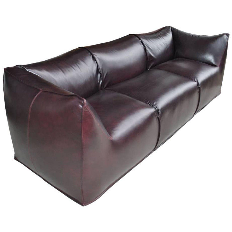 Mario Bellini For B And B Italia La Bambole Three Seat Leather Sofa Leather Sofa Oversized Chair Living Room Leather Seat