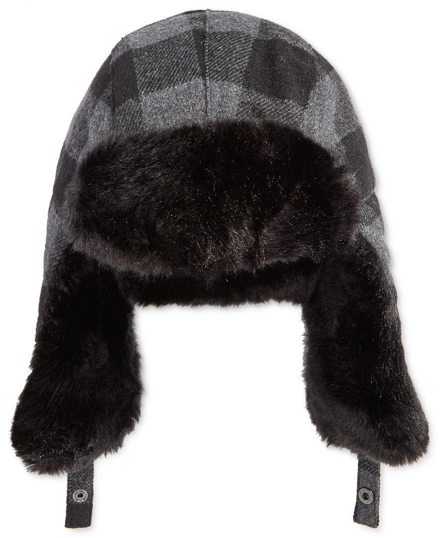 960f0e1b8ad Levi s Men s Buffalo Plaid Trapper Hat with Faux-Fur Trim