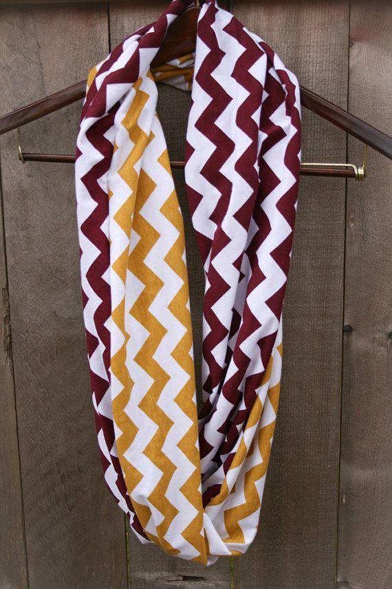 24f0d2573b9 LONG Infinity Scarf // Maroon Garnet/Gold Chevron Jersey Knit ...