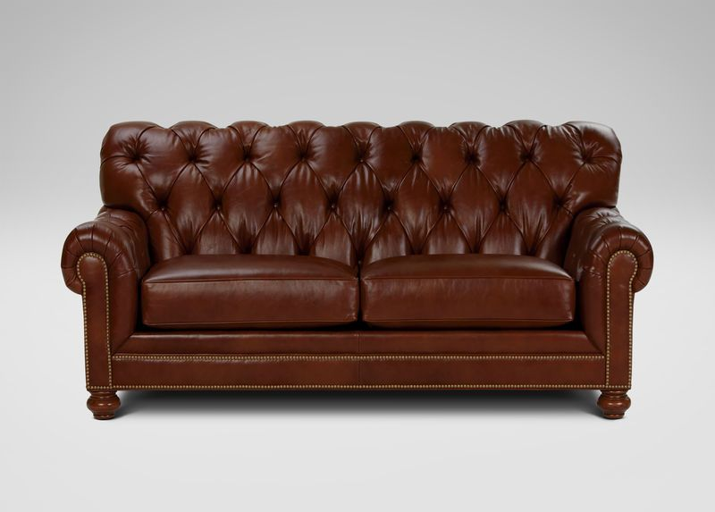 Ethan Allen Chadwick Leather Sofa Old English Saddle