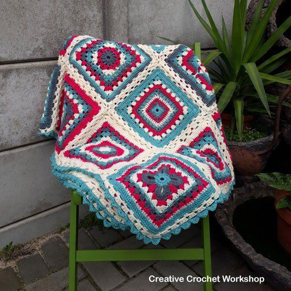 Crochet A Block 2017 Afghan Border | Colchas tejidas y Colchas