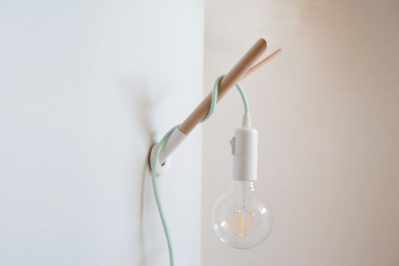 Handmade Wooden Lamp Hook With A Colored Fabric Cable Wall Etsy Wooden Lamp Hanging Light Bulbs Hanging Lights