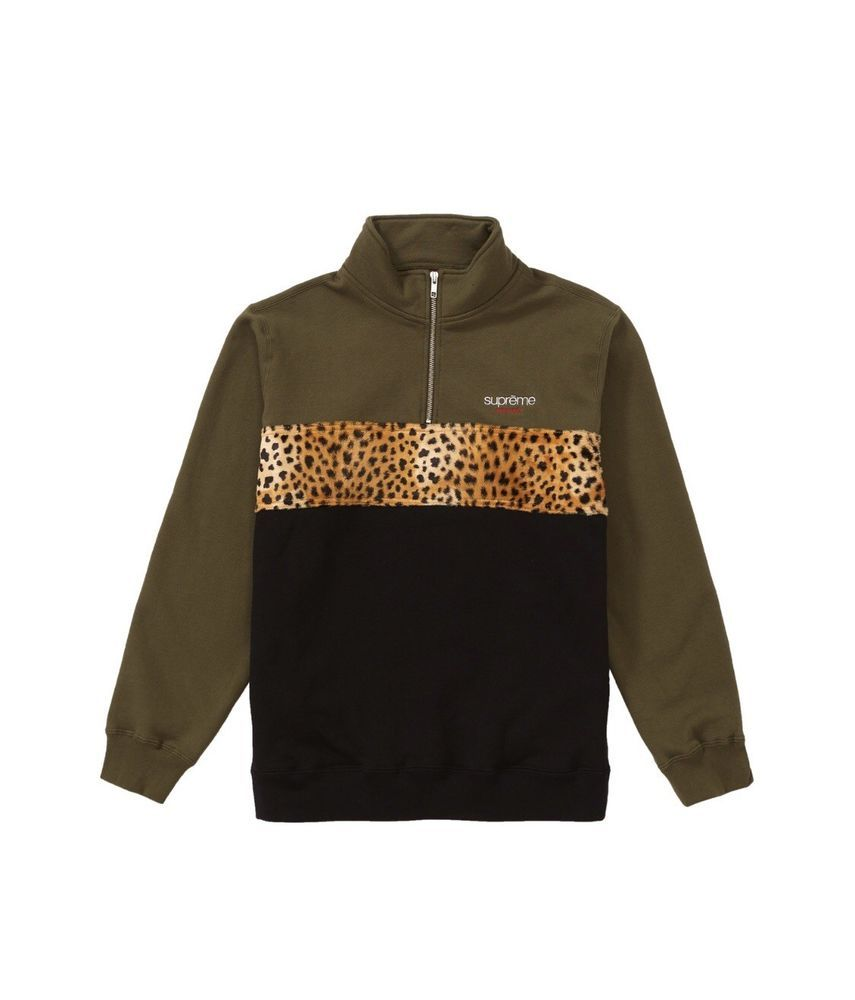 22b13ba6c508 Supreme Leopard Panel Half Zip Sweatshirt Dark Olive  fashion  clothing   shoes  accessories  mensclothing  activewear (ebay link)