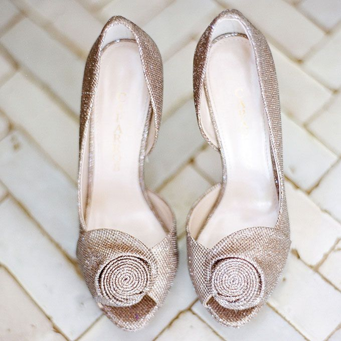 Metallic Peep Toe Pumps With Rosebud Detail Caparros Stylish Sparkly Wedding Shoes Sparkly Wedding Shoes Sparkly Wedding Shoes Rhinestones Wedding Shoes