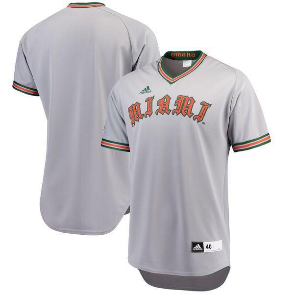 Miami Hurricanes Adidas Authentic Throwback Baseball Jersey Gray Miami Hurricanes Baseball Jerseys Miami Hurricanes Baseball