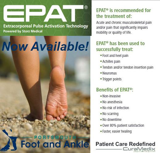 Heel pain slowing you down? Have you heard of EPAT? Innovative, non-invasive way to treat pain. It is based on a unique set of pressure waves that stimulate the metabolism, enhance blood circulation, and accelerate the healing process. Damaged tissue gradually regenerates and eventually heals. An alternative to surgery! Now available in Portsmouth & Nashua, New Hampshire.  Non-invasive No anesthesia required No risk of infection No scarring No downtime Over 80% patient satisfaction Cost…