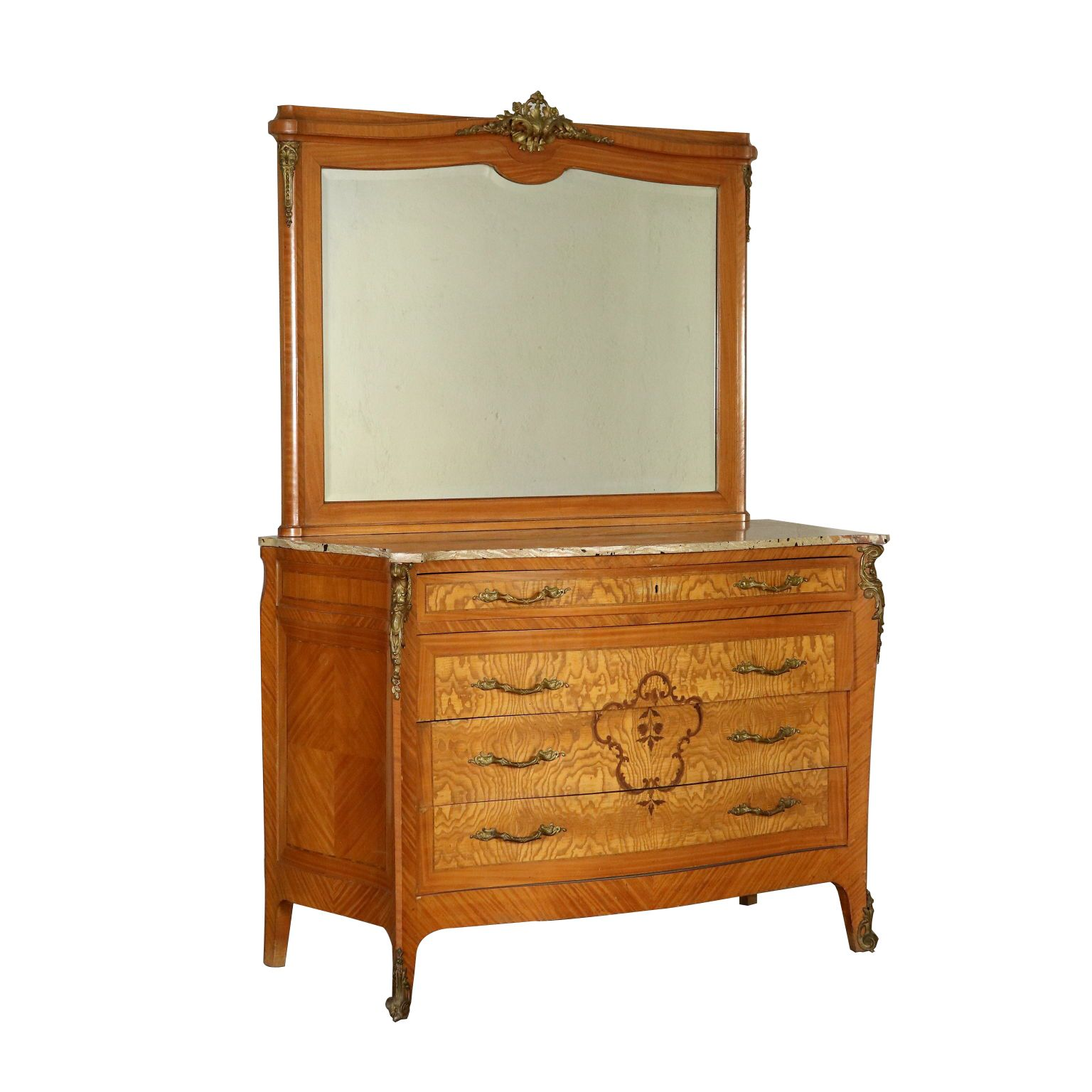 Antiques Chest Of Drawers With Mirror Italy 20th Century Serpentine Chest Of Drawers With Mirror Four Drawers And Marble Top Commode Miroir Commode Marbre