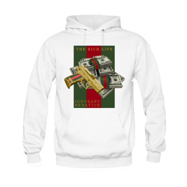 FOAMPOSITE GUCCI - BLACK - MONEY AND GUN - HOODIE / WHT (MEN)
