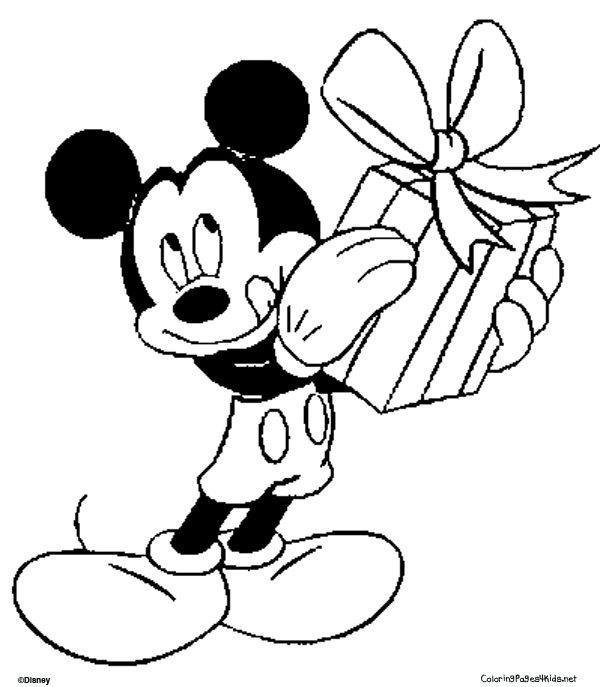 Mickey Mouse Gives A Gift Coloring Pages For Kids