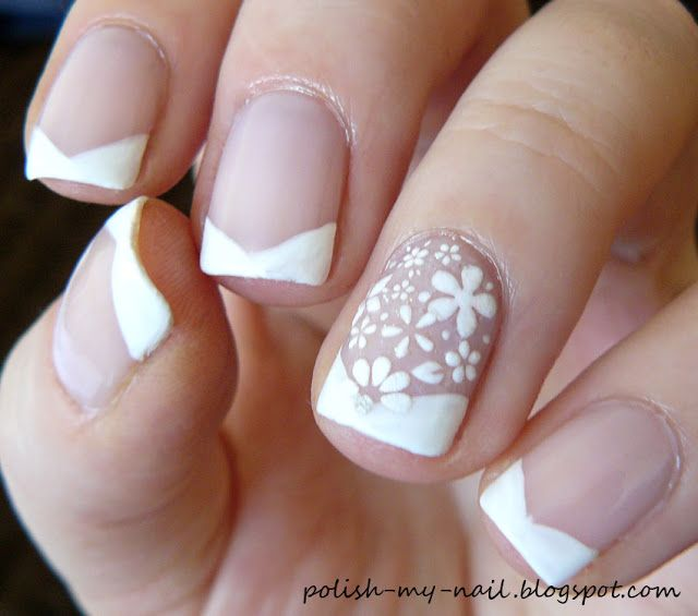 Chevron French Manicure Delicate Nails