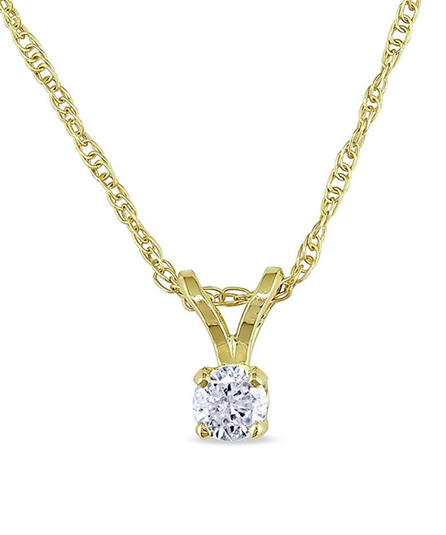 Look at this diamond u k yellow gold roundcut pendant necklace on