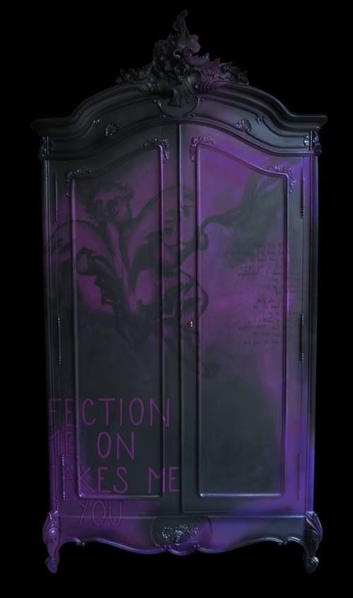 Purple Black Painted Wardrobe With