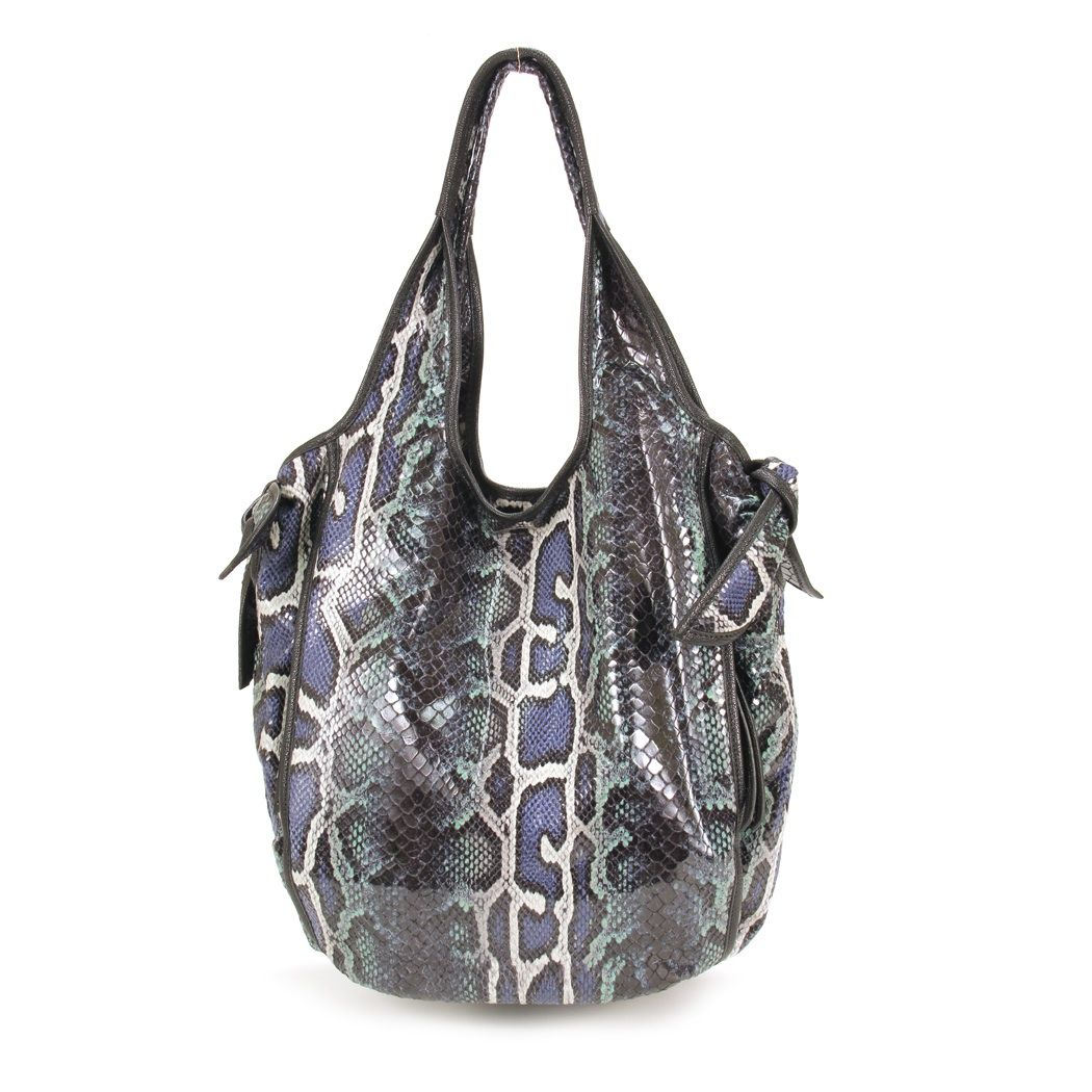 Kooba Faux-Snake Carmine Hobo in Cobalt for sale online from Carolina Boutique in Mill valley