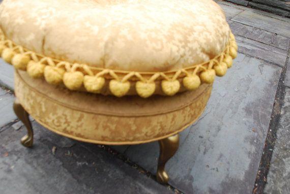 Vintage Gold Brocade Foot Stool  Hollywood Regency by Chronologies, $110.00