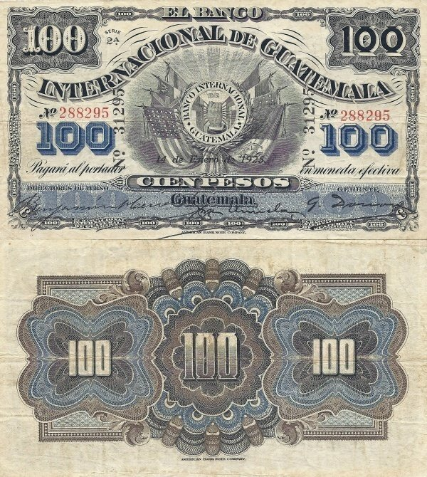 100 Pesos Guatemala S Banknotepick S160b Date 1925 Bank Notes Paper Currency Banknote Collection