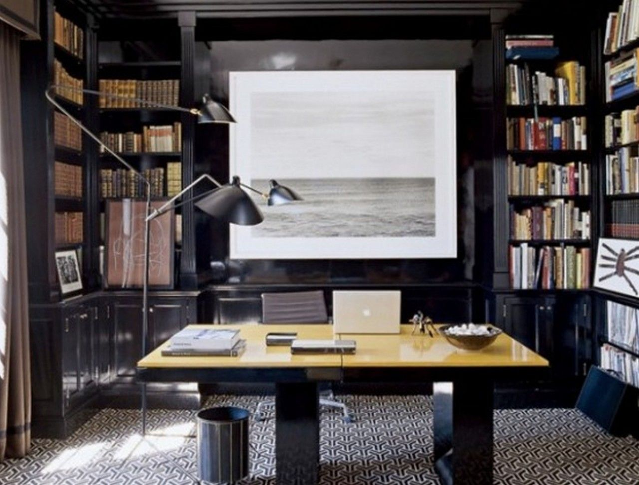 Masculine Grey Home Office With Built In Shelves And Bookcases