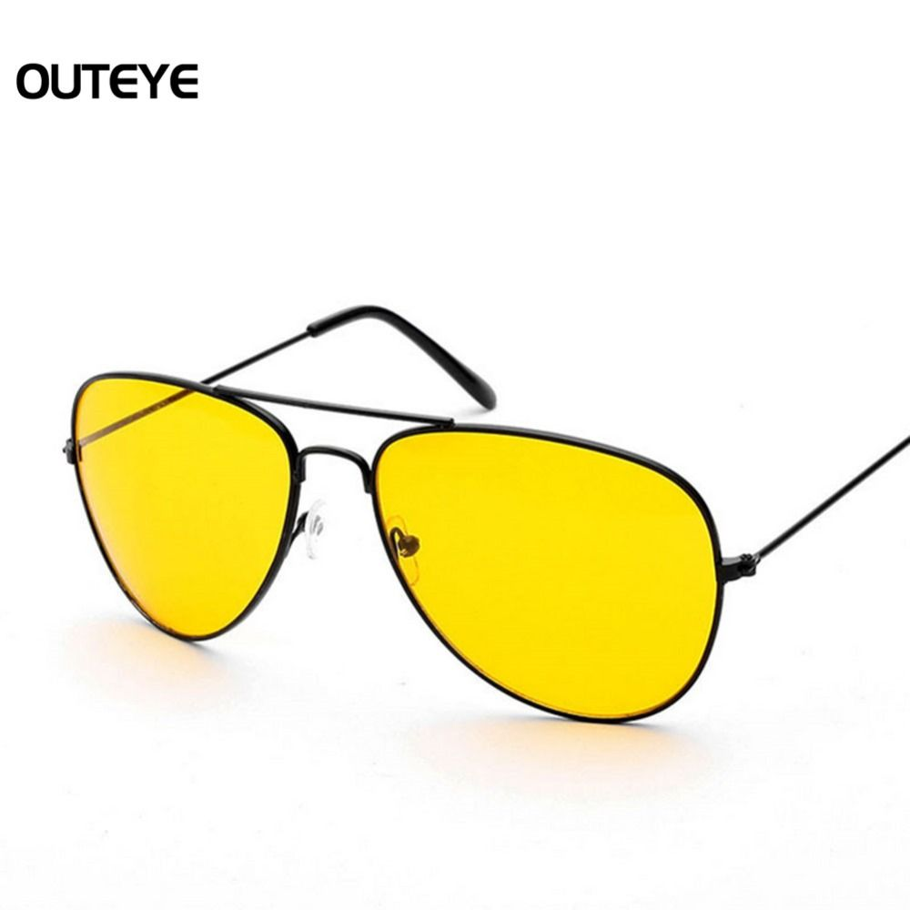 fa1701450b0 Brand Designer 2017 Night Driving Sunglasses Men Women Metal Frame Yellow  Mirror Night Vision Goggles Brand Men s Sun Glasses