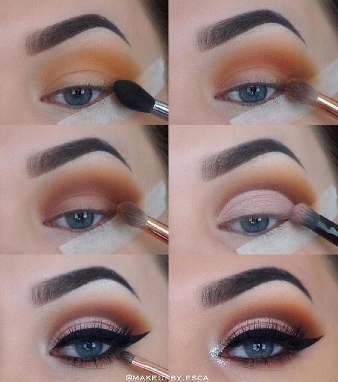 Eyemakeup Brown eye makeup tutorial, Eye makeup steps