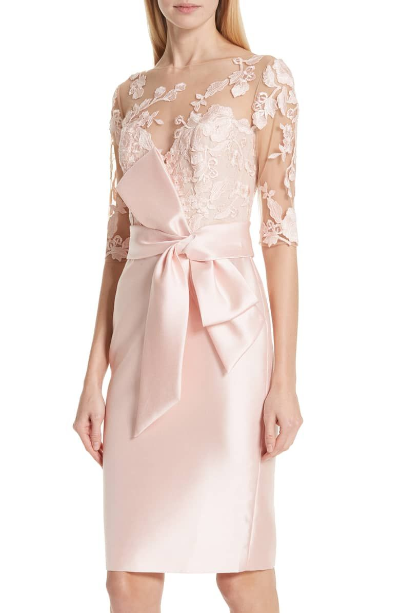 ff8033baef9 BADGLEY MISCHKA COLLECTION Badgley Mischka Lace Accent Bow Cocktail Dress
