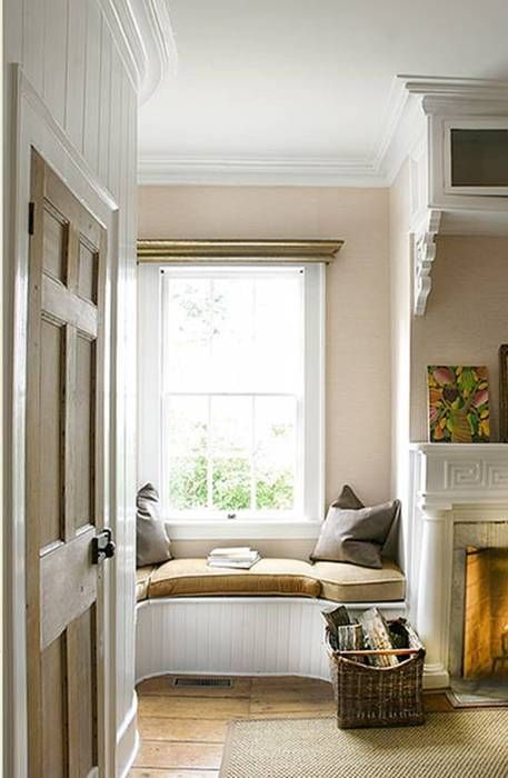 corner window seat, nook, cozy, tucked away, banquette, bay window,