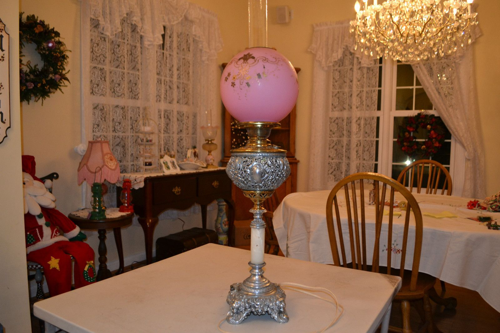 Mouse over image to zoom    Have one to sell? Sell it yourself  Antique 1800's Parlor Oil Lamp, Electrified, Brass, Pewter, and Marble, #337....this is too gorgeous...