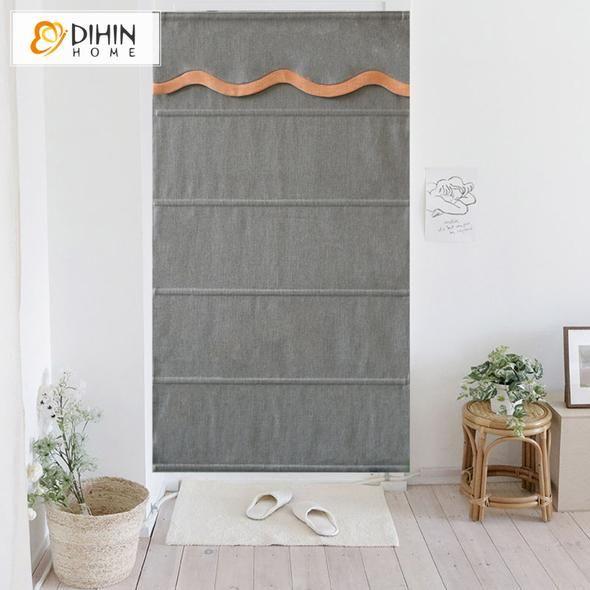 DIHIN HOME Grey Printed Roman Shades Wavy Valance,Easy