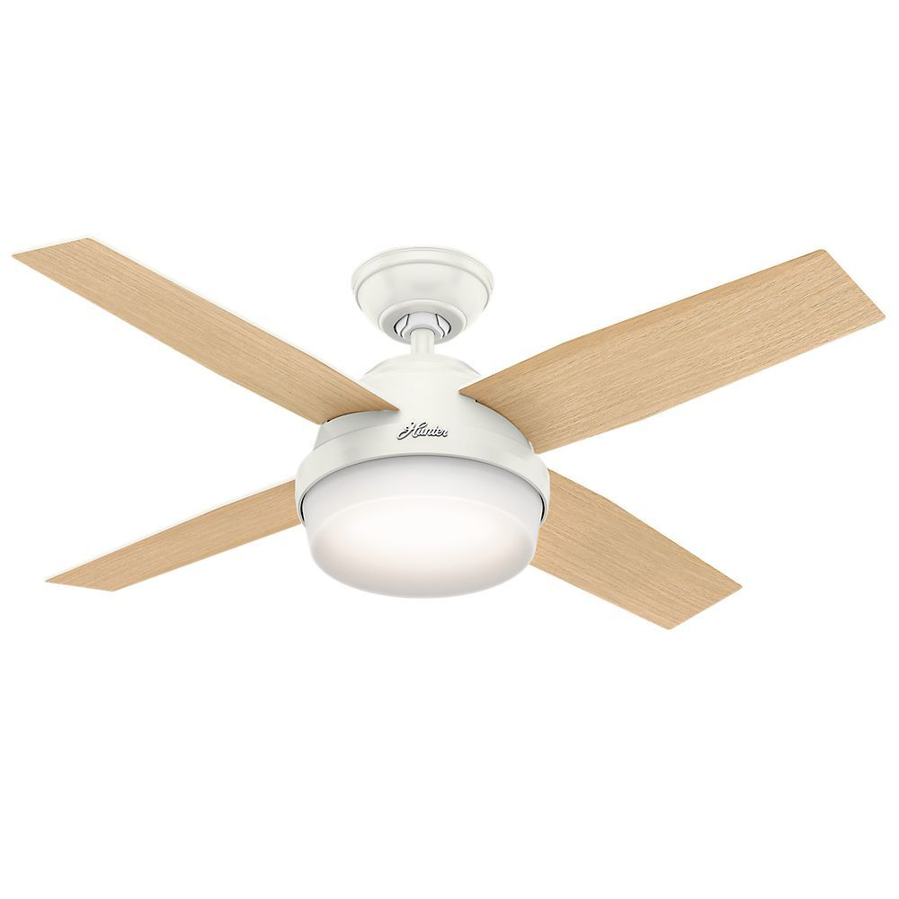 Hunter Fan Dempsey Collection Fresh White Blonde Oak 44 Inch 4 Reversible Blades Ceiling Incl Handheld Remote And 3 2 Downrods Glass
