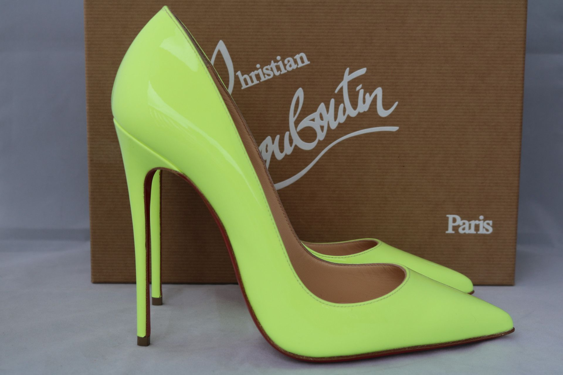 CHRISTIAN LOUBOUTIN SO KATE 120 PIGALLE NEON YELLOW PATENT