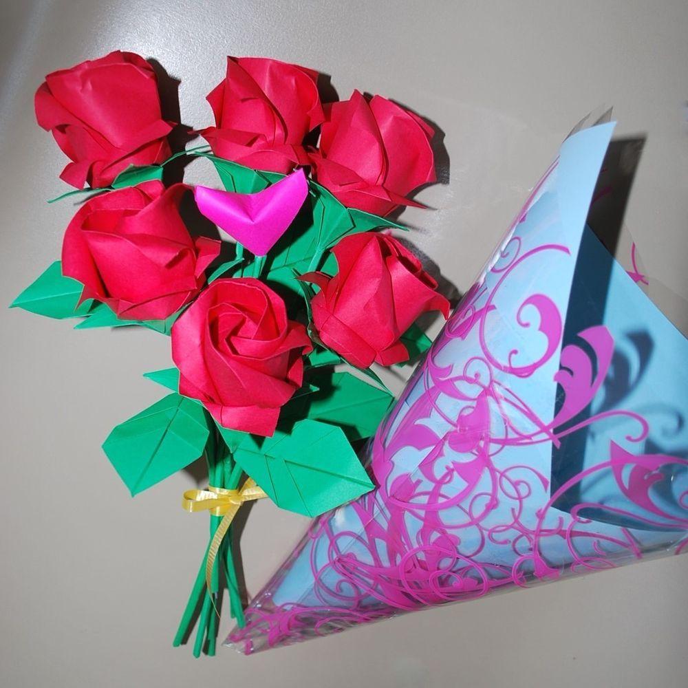 Origami Roses Paper Flowers Valentine Anniversary Birthday Bouquet