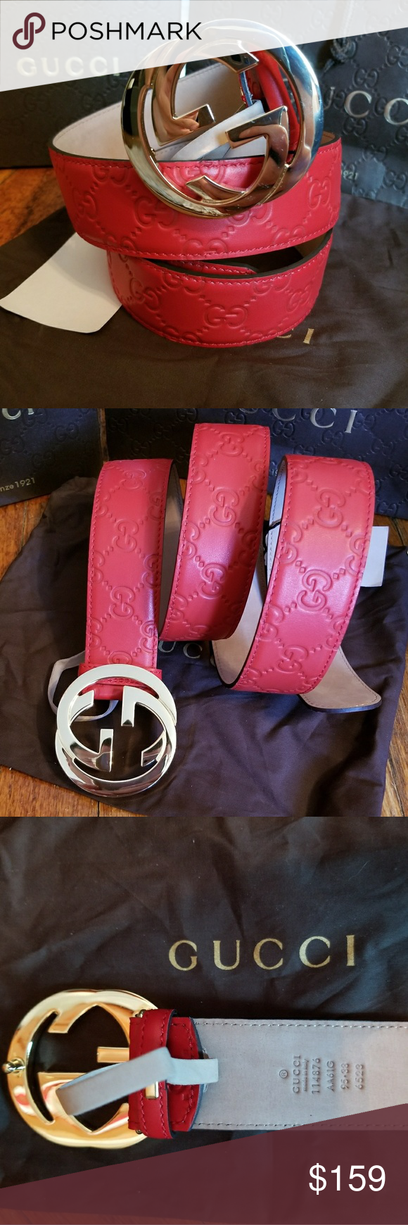 71401ed5bf5 😘Authentic Gucci Belt Red Guccissima Print 😘Authentic Gucci Belt Red  Guccissima Print with Gold GG Buckle. Hot! Comes with tags