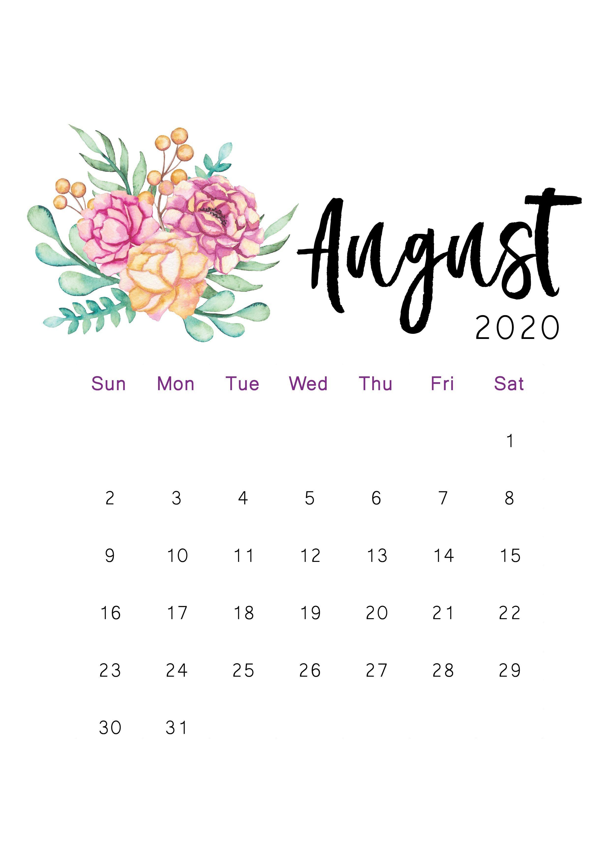 August 2020 Printable Calendar Kartu Bingkai Foto Gambar