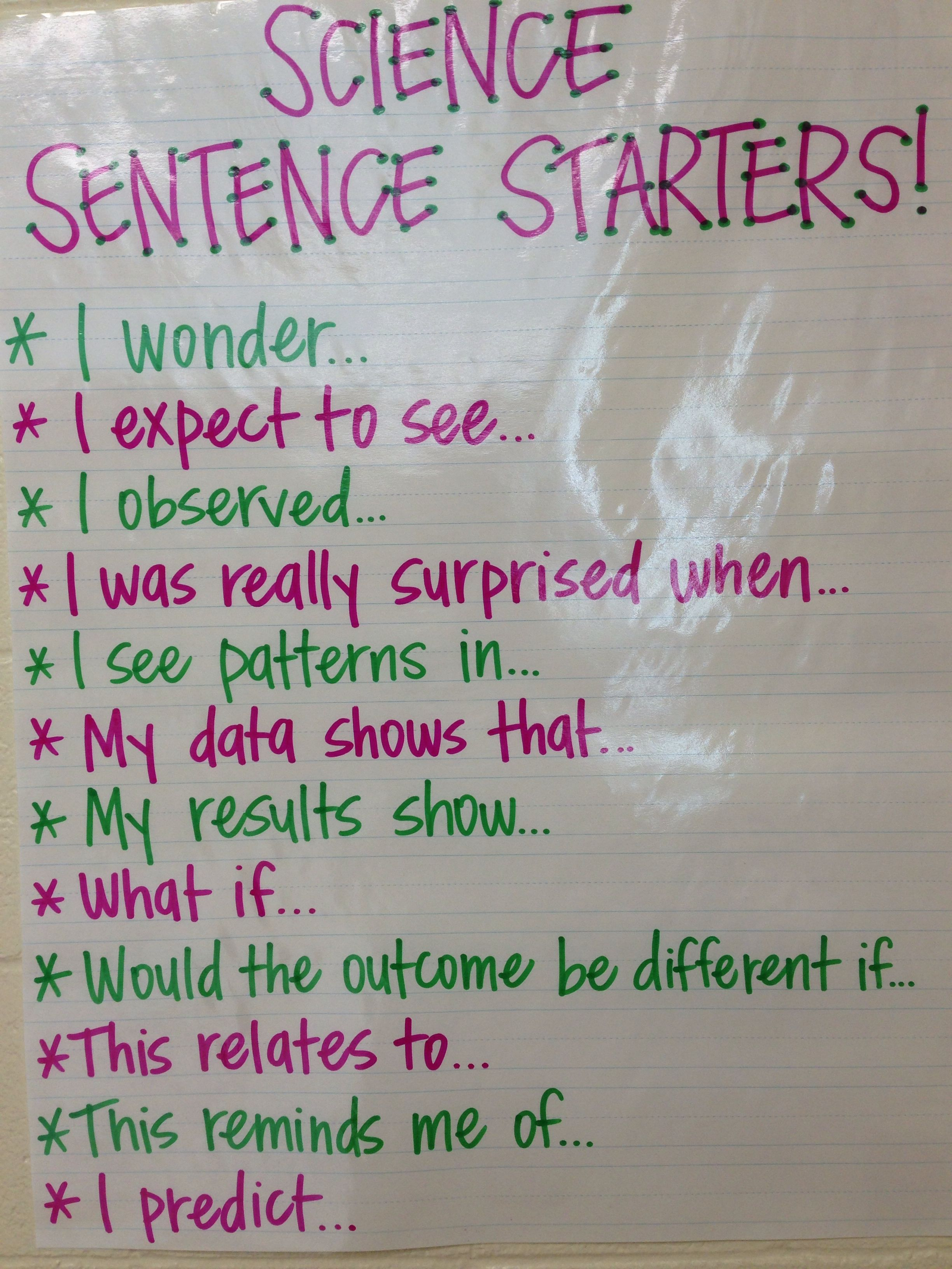 Science Sentence Starters Great For Interactive