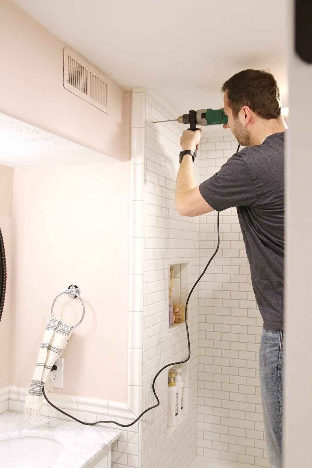 How to drill into tile to hang a shower curtain miter