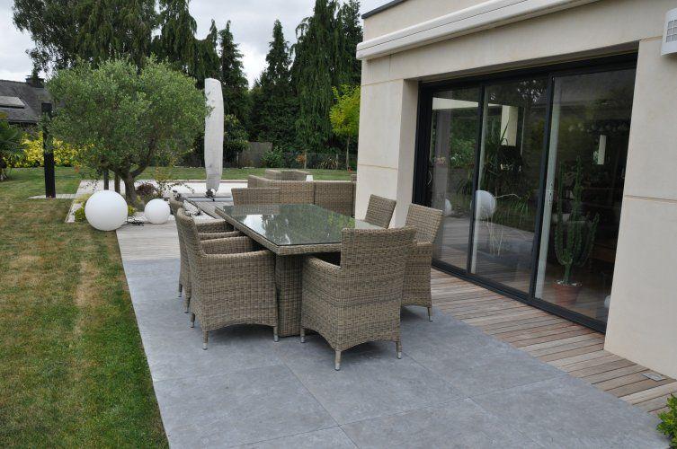 bois et carrelage terrasse Jardin Pinterest