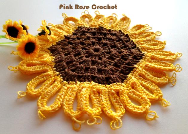 PINK ROSE CROCHET : Girassol Pega Panelas Sunflower Pot Holders