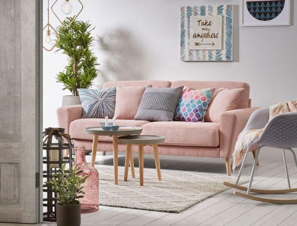 pastellfarben dekokissen ideen wohnzimmer couch Dekoration