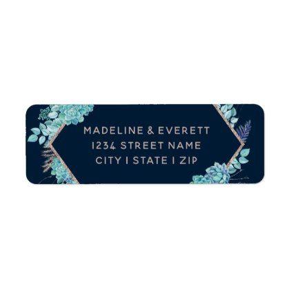 Navy Succulents Rose Gold Wedding Return Address Label