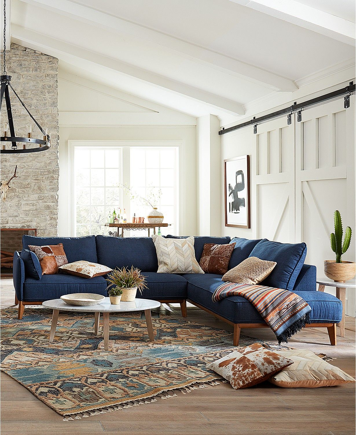 Furniture Jollene Fabric Sectional And Sofa Collection Created For Macy S Reviews Furniture Macy S Blue Sofas Living Room Blue Couch Living Room Mid Century Modern Living Room