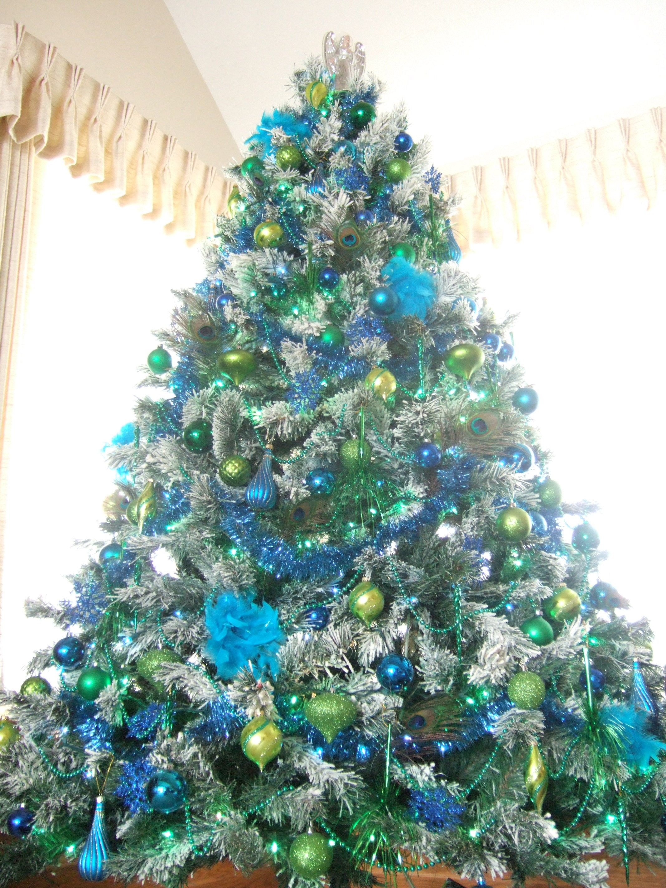 Blue christmas trees decorating ideas - Closeup Tree Peacock Christmas Blue Green